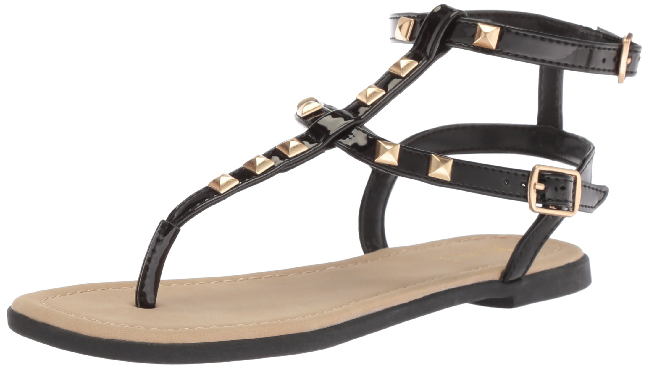 The Children's Place Girls' BG Stud Zahara Flat Sandal, Black, Youth 4 Medium US Big Kid by The Children's Place (Image #1)