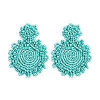 SENNI Earrings Bohemian Beaded Charm Round Pendant Earrings Women (Green)