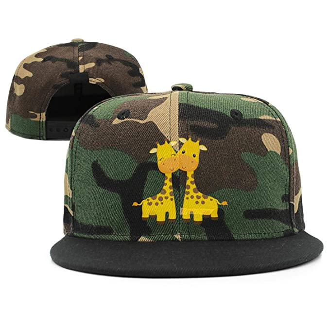 f05077b08a5 Yellow 2 giraffe stand theme Unisex army-green Snapback Hat for Men Women  Fitted Caps