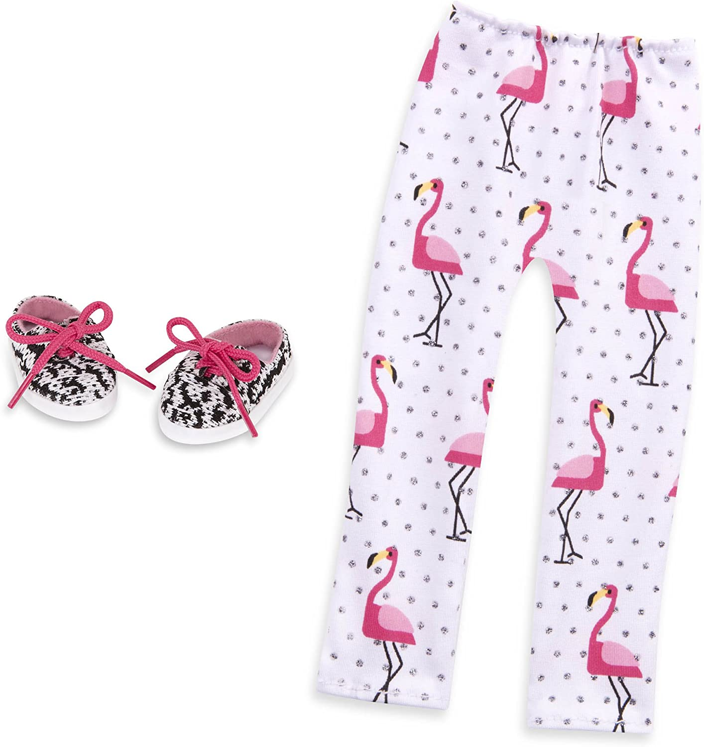 14-inch Doll Clothes and Accessories for Girls Age 3 and Up Shoes and Leggings Accessory Set Children/'s Toys Flamingo Glow Glitter Girls by Battat