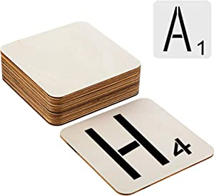 LINSHRY 50 Pcs Unfinished Wood Pieces Blank 5 x 5 Inch Wood Squares with 26 Pieces Letter Stencils for DIY Craft, Coasters, Painting, Staining and Home Decorations