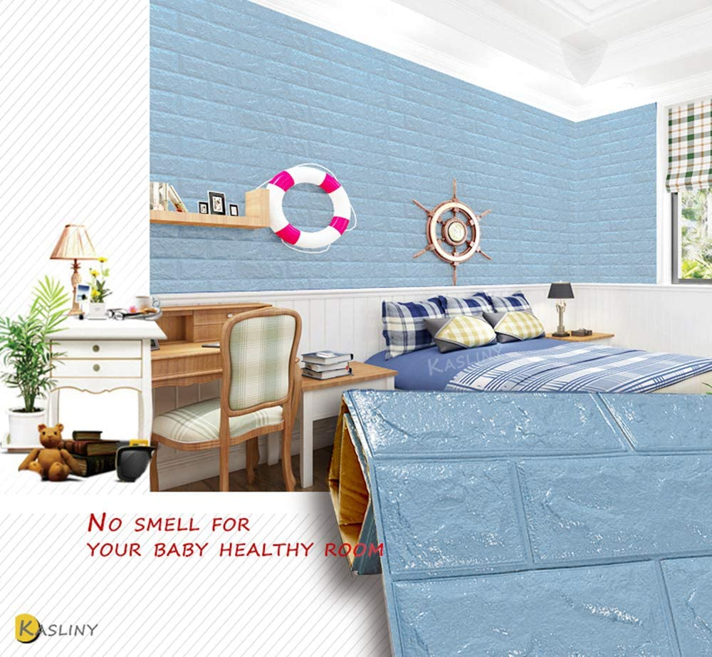 Peel and Stick Wall Panels for TV Walls Kasliny 3D Brick Wall Stickers Self-adhesive Panel Decal PE Wallpaper Wall Paper 5 Packs Sofa Background Wall Decor 19.375 sq ft