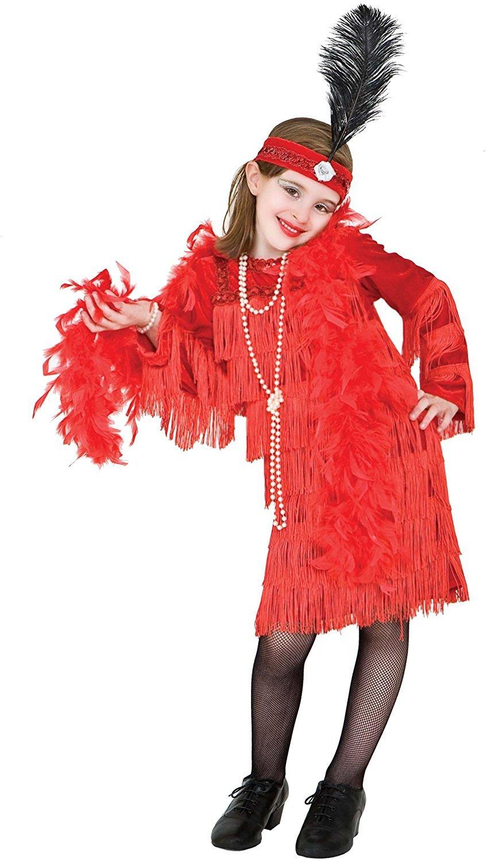 chiber Disfraces Disfraz de Charlestón Rojo con Flecos para niña ...