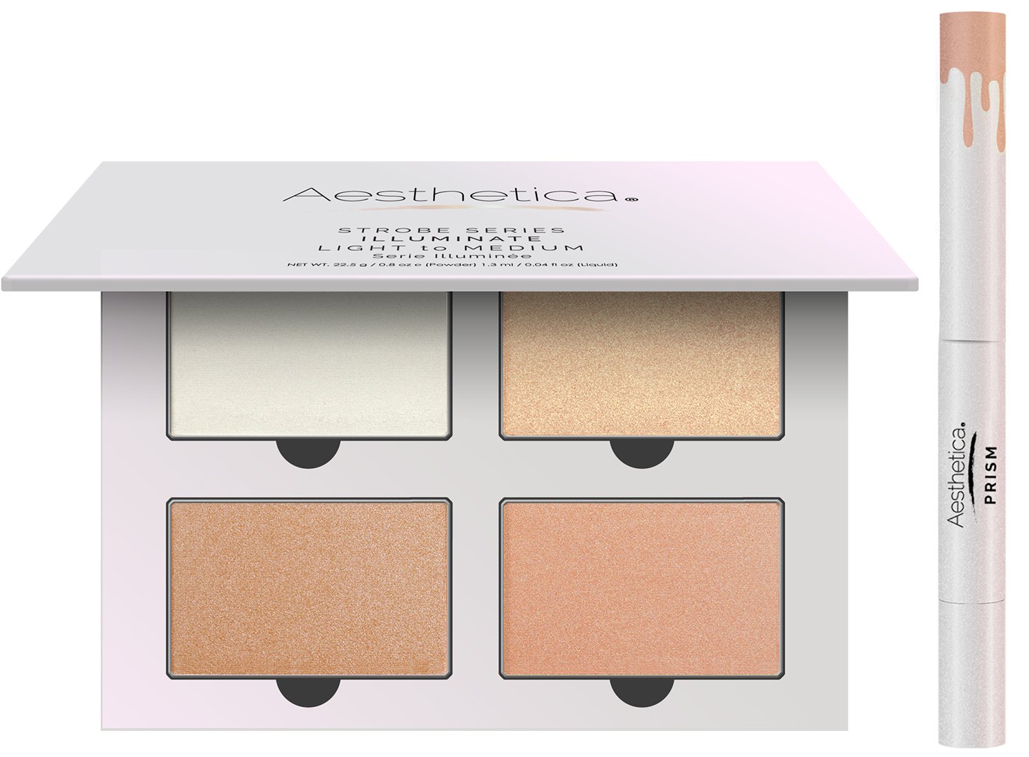 Aesthetica Strobe Series Highlighter Makeup Kit - 5-Piece Makeup Palette Set - Includes 4 Illuminating Powders and 1 Liquid Highlighter - Step-by-Step Instructions Included (Illuminate)