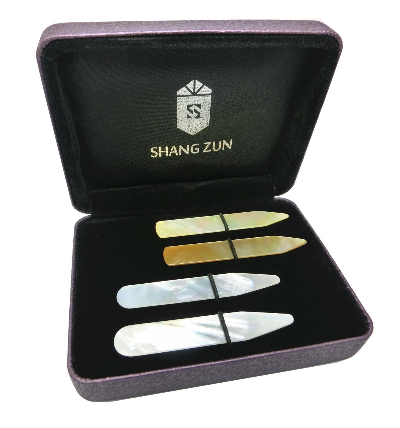 Shang Zun 4 Pcs Natural Mother of Pearl Shell Collar Stays,2 Styles, 2.37''