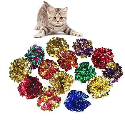 Milopon Juguete Gato Pelota Sonante Papel para Cazar Jugar Entretenimiento Diversión Actividad de Mascotas 3,8cm-4cm 10pcs