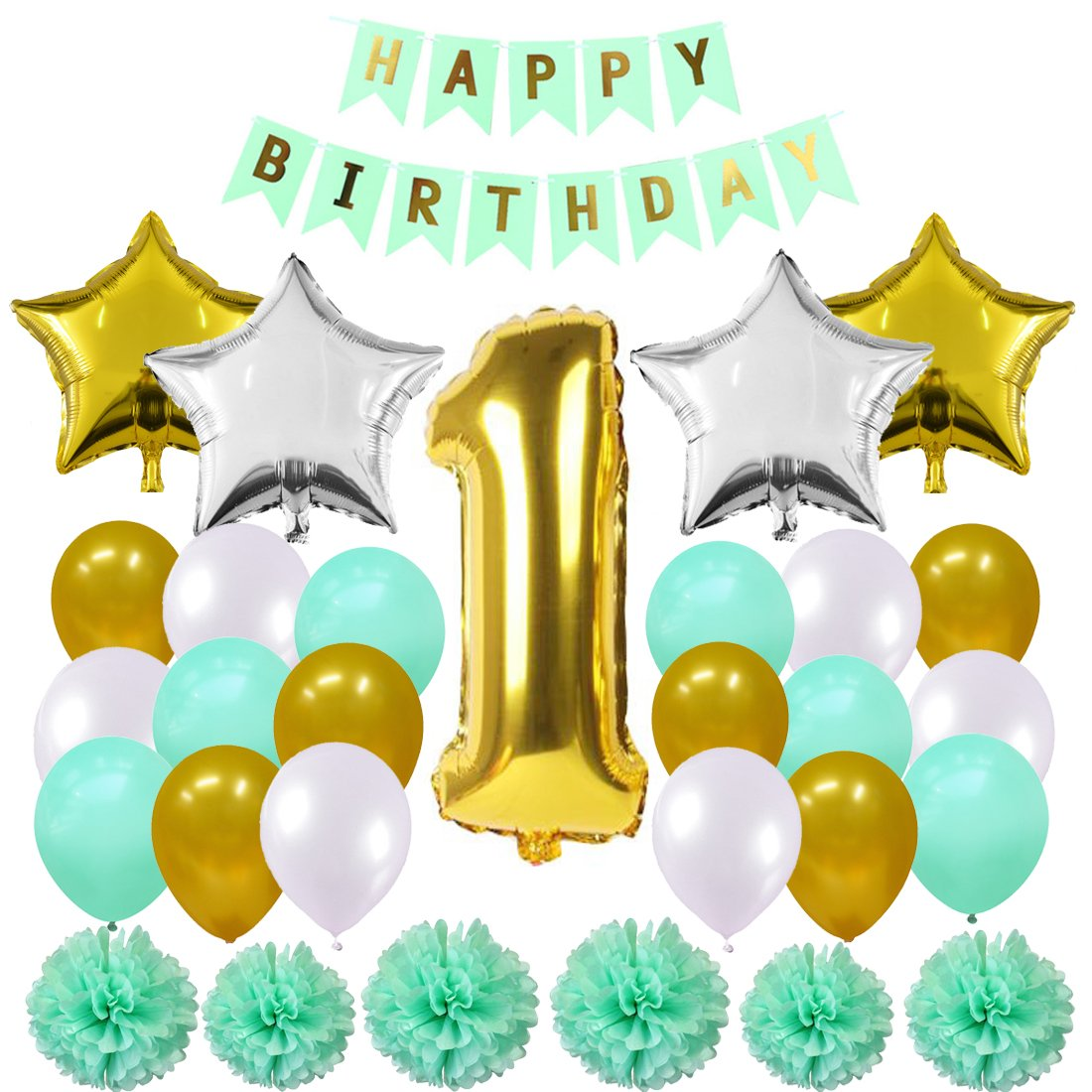 Amazon Maticr Sweet Baby Boy First Birthday Decorations Kit 1st Balloons Banner Party Supplies Toys Games