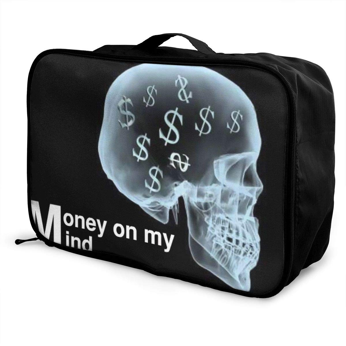 Travel Luggage Duffle Bag Lightweight Portable Handbag Money On My Mind Skull Large Capacity Waterproof Foldable Storage Tote