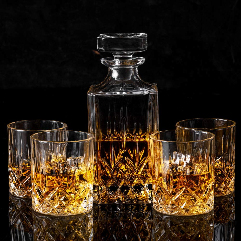 KANARS Whiskey Decanter And Glass Set In Unique Luxury Gift Box - Original Crystal Liquor Decanter Set For Bourbon, Scotch or Whisky, 5-Piece by KANARS (Image #6)