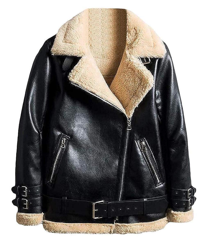 Black2 Cllzm Womens Bomber Coat Faux Leather Moto Biker Sherpa Jacket