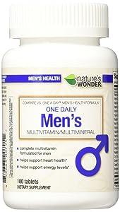 Nature's Wonder One Daily Men's Multivitamin, 100 Count, Compare vs. One A Day® Men's Health Formula