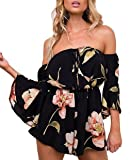 Lanzom Women Summer Retro Floral Off Shoulder Trumpet Sleeves Jumpsuit Romper