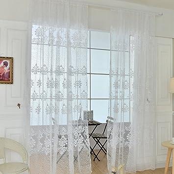 Amazon.de: LianLe Blumen Transparent Gardine Vorhang Schlaufenschal ...