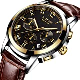 Lige Golden Men Watch with Genuine Leather Band