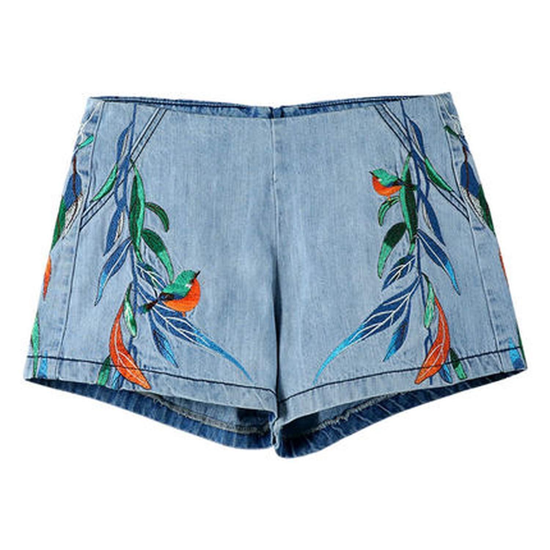 18k516 light bluee Summer Denim Shorts Loose High Waist Shorts Casual pink Flower Embroidery