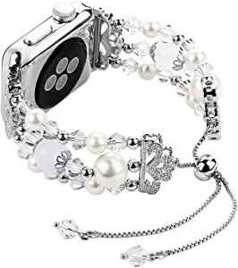 For Iwatch Bracelet Bands 42mm Adjustable, Women Stylish Apple Watchband with Stretch Bling Beads of Crystal Rhinestones Pearls for Apple Watch Series 3 2 1 Sport etc. - Junwei Silver