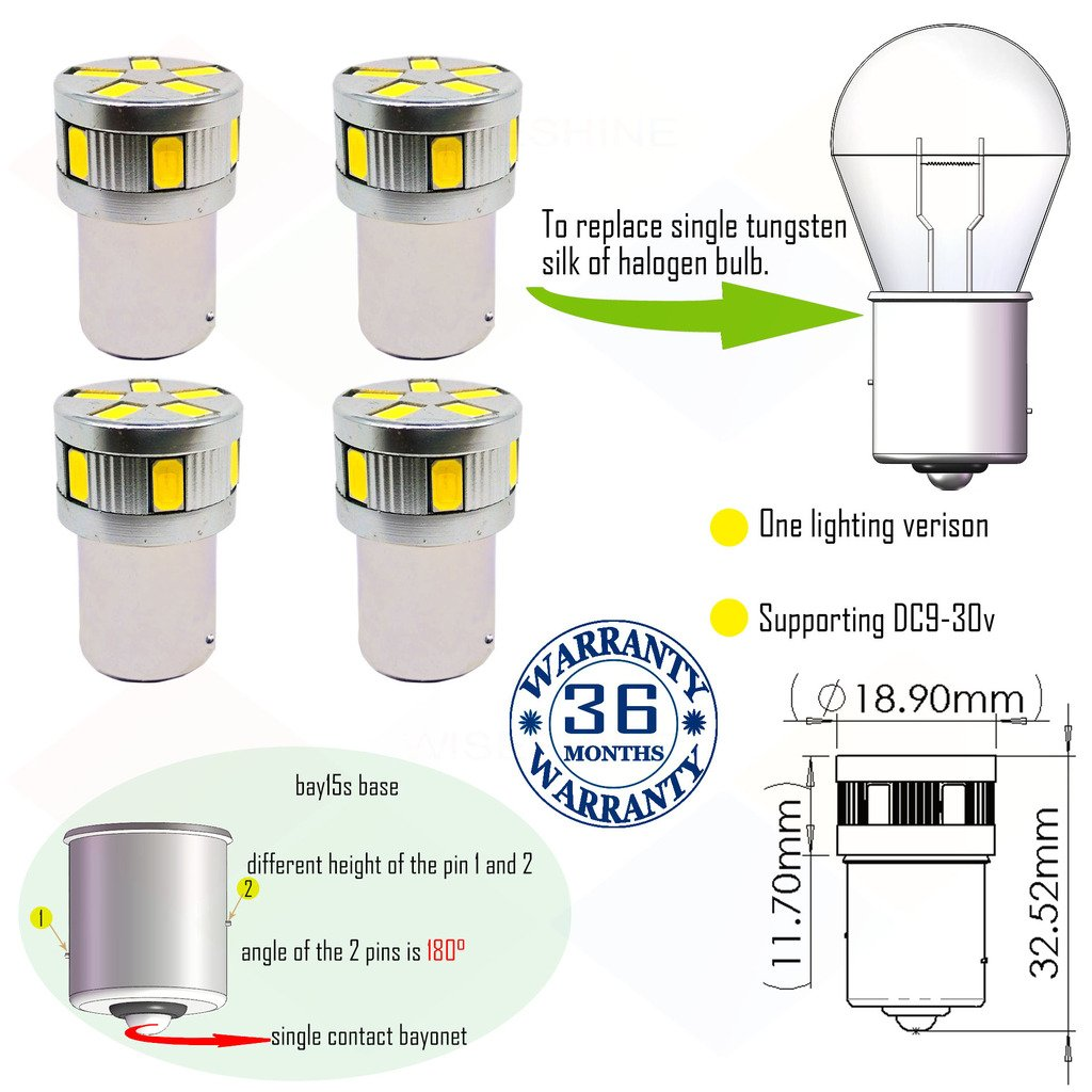 Wiseshine ry10w py21w 7507 5009 1156py s25 canbus turn signal led bulb DC9-30v 3 years quality assurance (pack of 4) bau15s 11smd 5630 Yellow Wiseshine Technology Co. Ltd