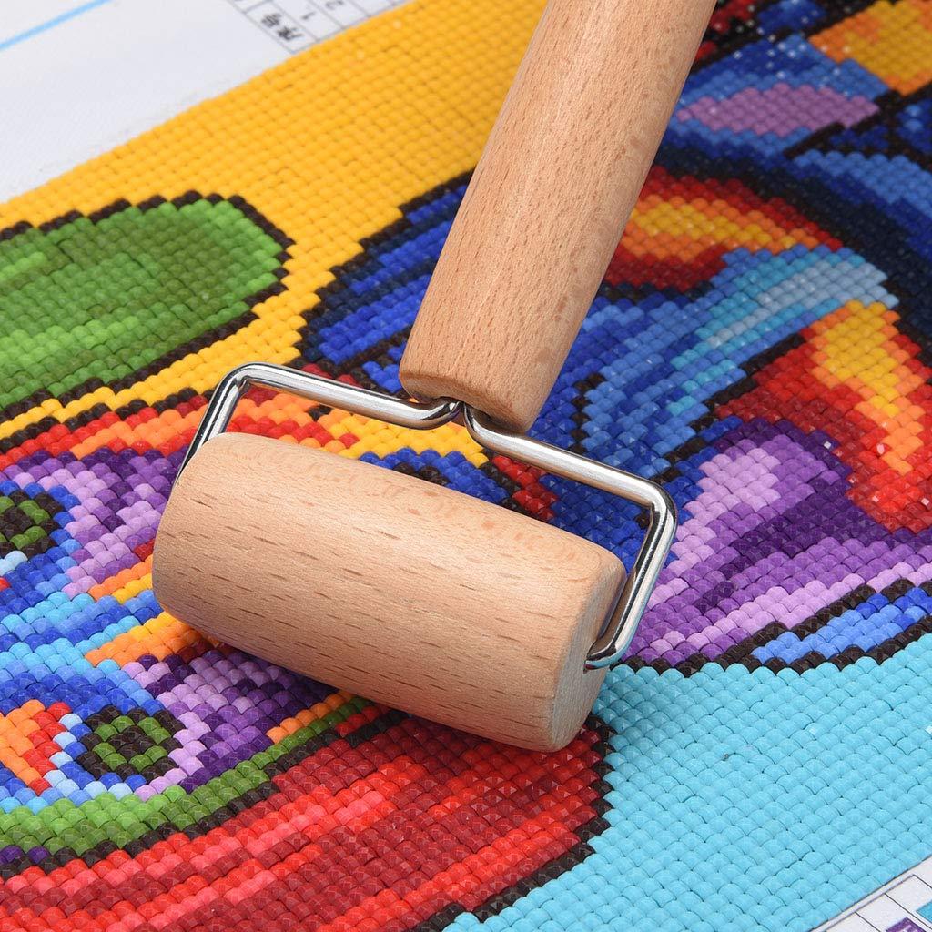Diamond Painting Tools Baoblaze 2pcs 5D Diamond Painting Wood Roller DIY Rhinestone Embroidery Cross-Stitch Painting