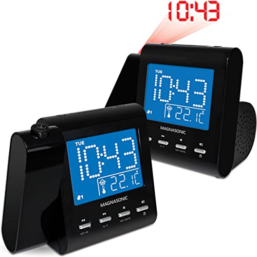 Magnasonic Projection Alarm Clock with AM FM Radio, Battery Backup, Auto Time Set, Dual Alarm, Sleep Timer, Indoor Temperature Day Date Display with Dimming Audio Input for Smartphones – 2 Pack