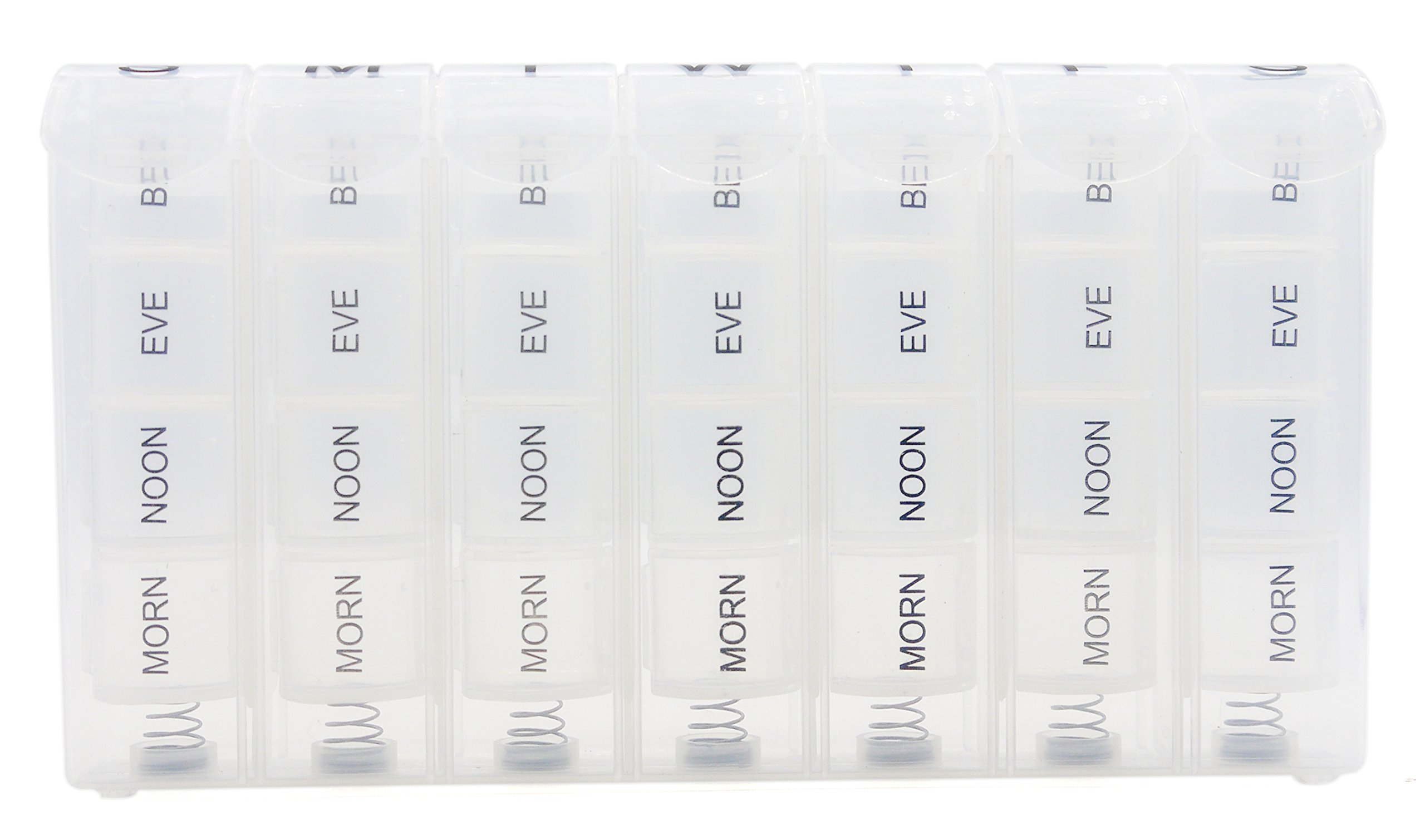 PuTwo Pill Organizer Weekly Removable and Portable Case with 28 Compartments, Clear by PuTwo