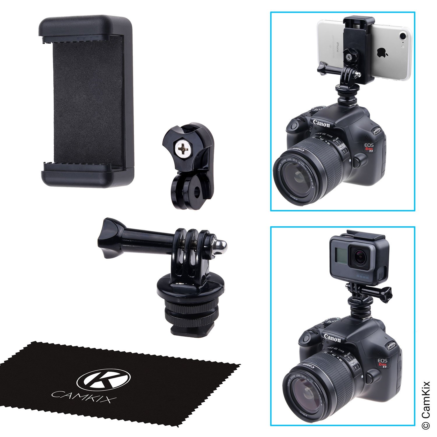 Hot Shoe Mount Adapter Kit - Attach your Phone or GoPro Hero to the Flash Mount of your DSLR Camera - Record your Photo Shoot or use Phone Apps for Lighting, Monitoring or Controlling CamKix D0235-GPP-HOT