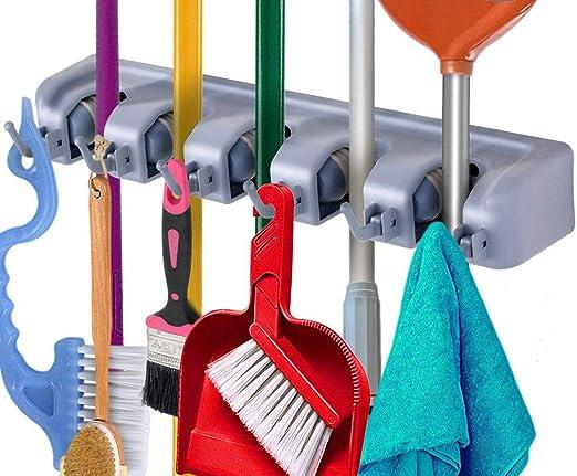 Broom Holder and Garden Tool Garage Organizer Hooks for Rake Mop Wall