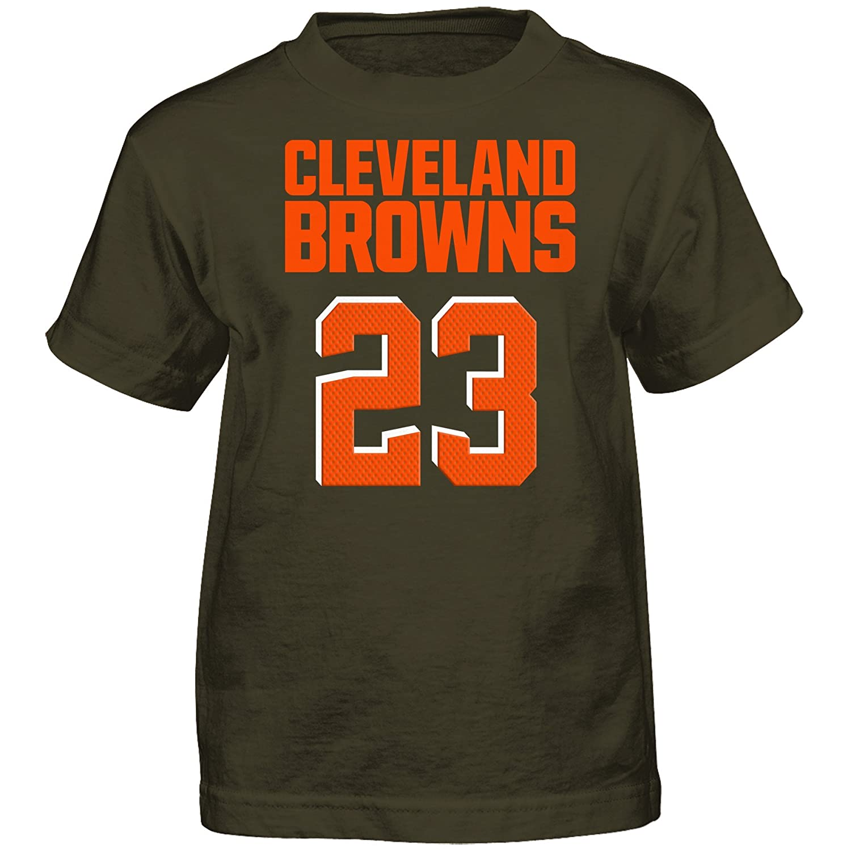 NFL Boys 4 7 Joe Haden Cleveland Browns Boys Mainliner Player Name Short sleeve Tee Brown Suede S 4
