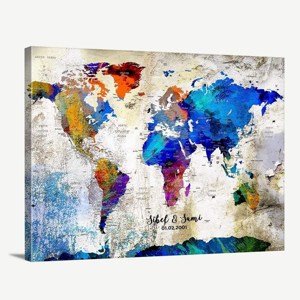 Watercolor Map of the World Map Map Home Decor Canvas Wall Art Print