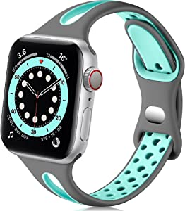 Getino Compatible with Apple Watch Band 40mm 38mm 44mm 42mm iWatch SE & Series 6 5 4 3 2 1 for Women Men, Stylish Durable Soft Silicone Breathable Slim Sport Watch Bands, Gray/Teal