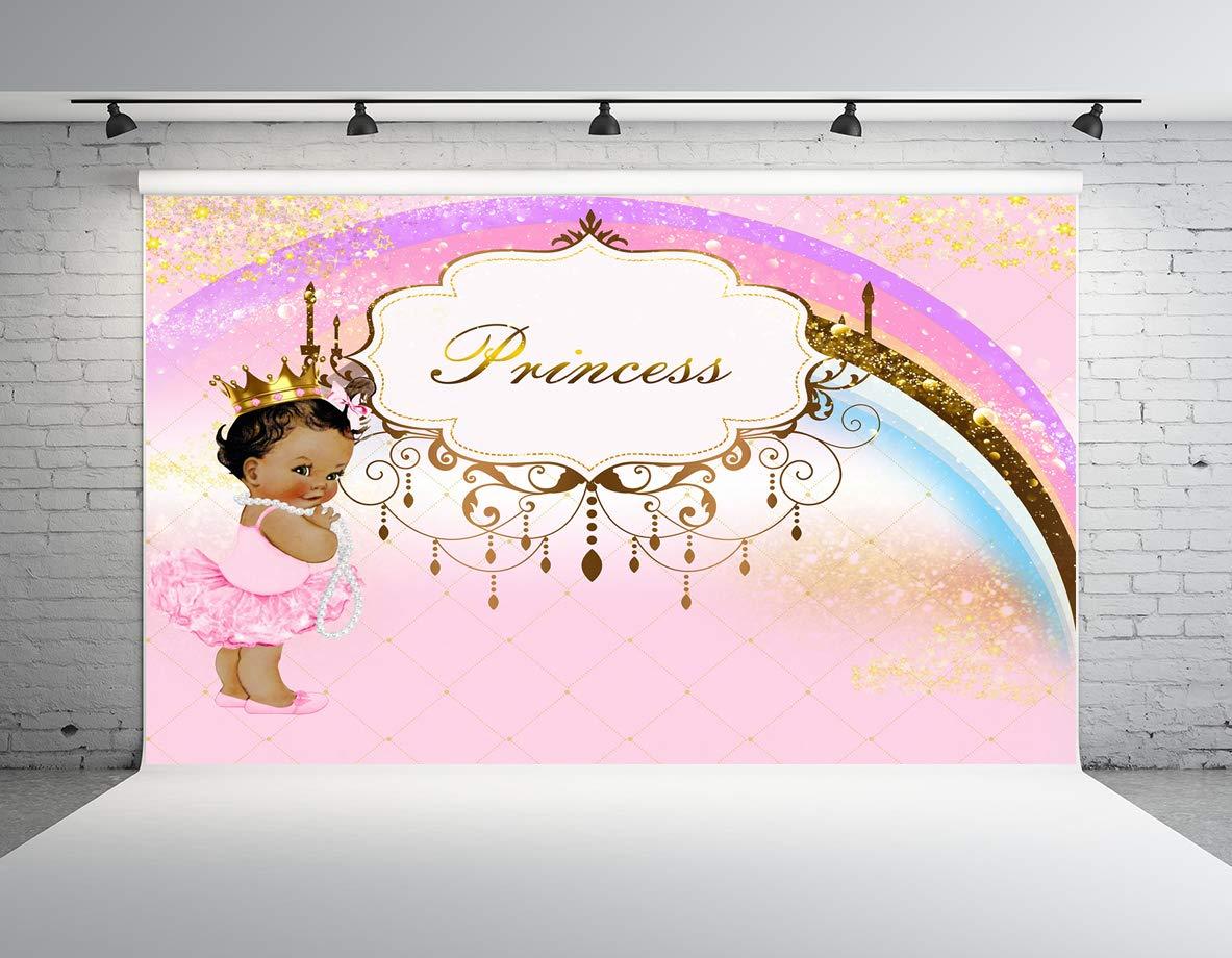 Kate 7x5フィート ベビーシャワー 写真撮影用背景 小さなプリンセス ピンク 誕生日 ゴールド 王冠 写真背景   B07M6QC4XC