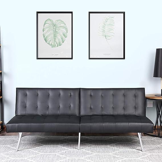 Amazon.com: Bonzy Home Sofá cama moderno de piel sintética ...