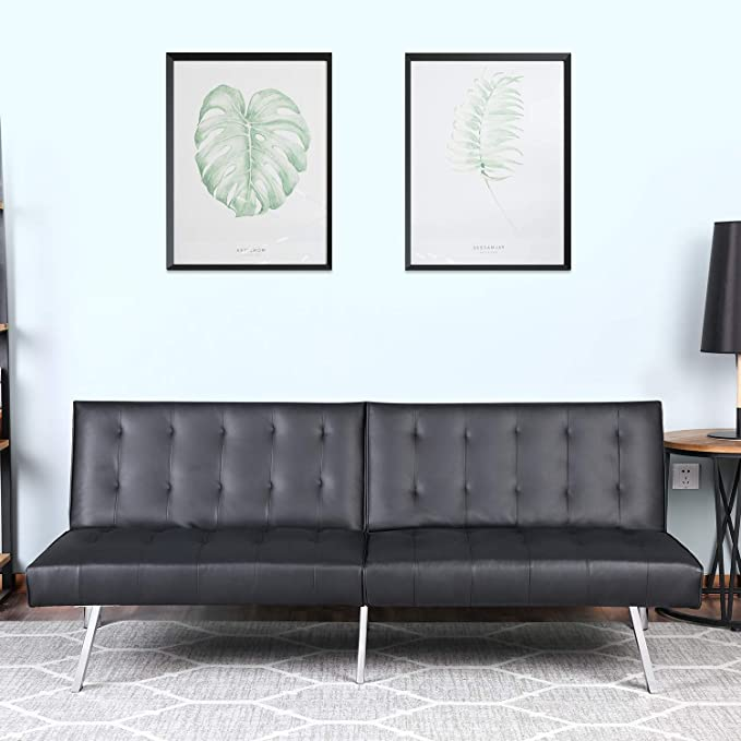 Bonzy Home Futon Sofa Bed Modern Faux Leather Couch Fold Up and Down Recliner Couch(Black)