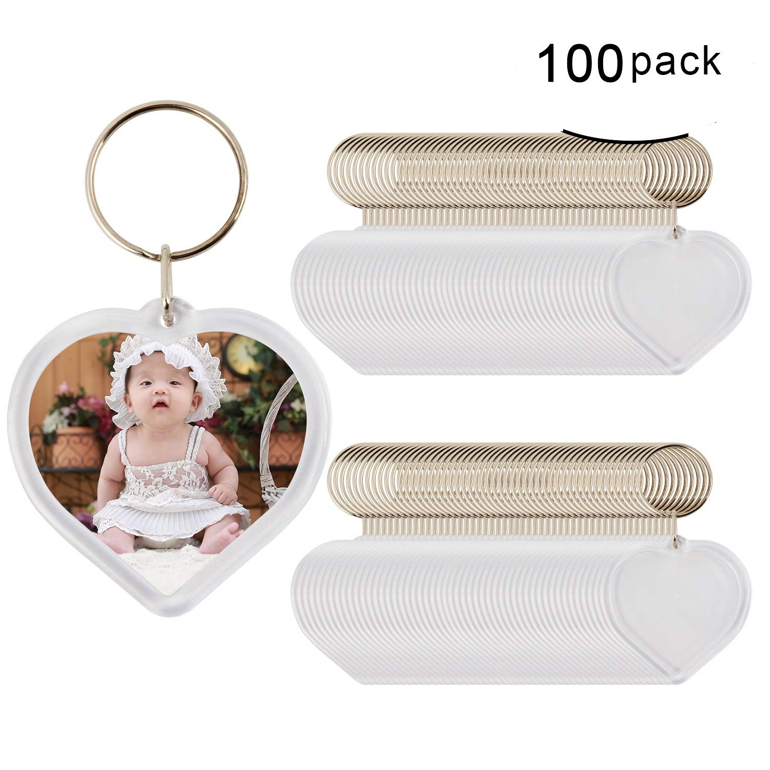 Blank Keychain, Heart Shape 100pcs Custom Personalised Insert Photo Acrylic Blank Keyring WholeSale