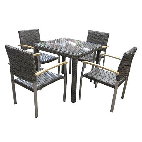 Amazon De Sitzgruppe Gartenmobel Set Von Maco Mit 4 Stuhlen Und