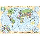 Mapa Político Mundial con Respaldo de Corcho EKO GRAF con Banderas de Todos Los Países 100 cm x 70 cm con Marco de Aluminio Marrón
