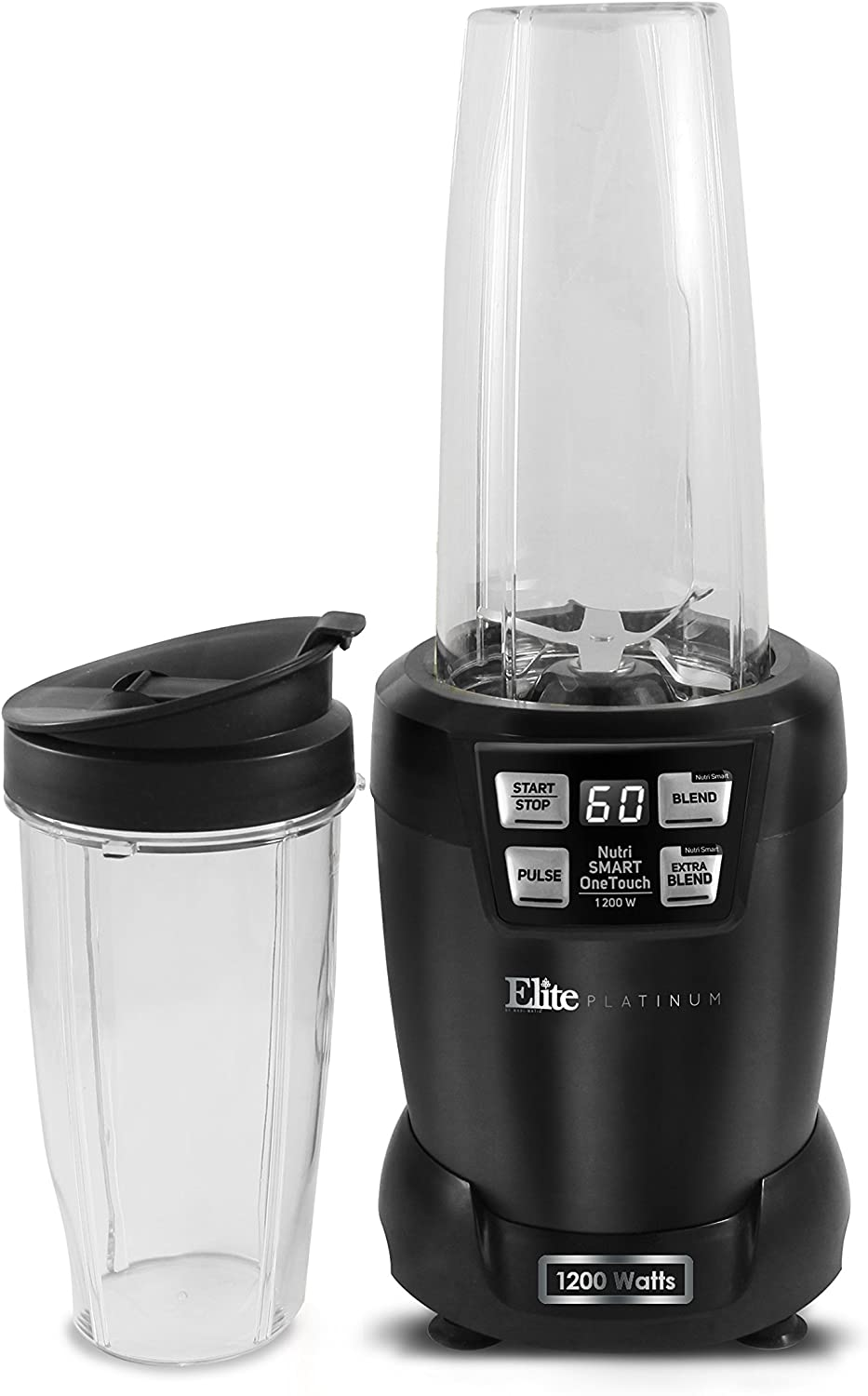 Elite Platinum EPB-5455 Hi-Q Nutri Smart Blender with 33 oz and 27 oz Tritan Blending Cups 1200W, Black