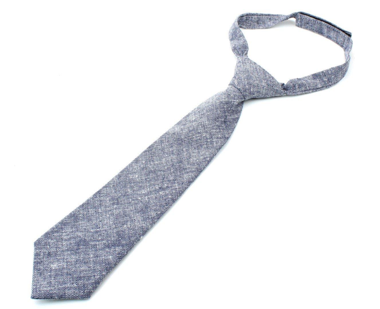 Kids Cotton Formal Necktie Tie Chambray Texture - Bright Blue