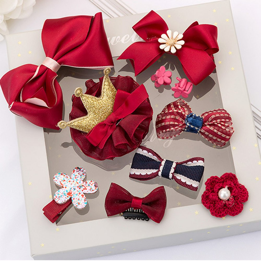 Jewelry 10Pcs Girl Baby Toddler Hair Bow, Clips, Barrett and Ribbon Set