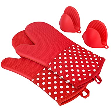 KEDSUM Heat Resistant Silicone Oven Mitts, 1 Pair of Extra Long Potholder Gloves with Bonus 1 Pair of Mini Cooking Pinch Grips, Non-Slip Cotton Lining Kitchen Glove for Baking, Barbeque
