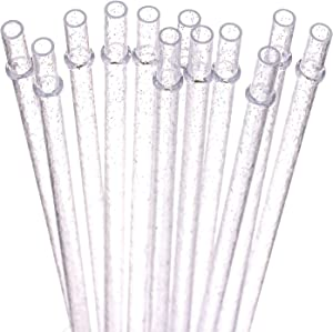DAKOUFISH BPA-Free 12 Piece 11 Inch Reusable Clear Plastic Glitter Sparkle Drinking Straw Plus one Cleaning Brush(Clear,11inch)