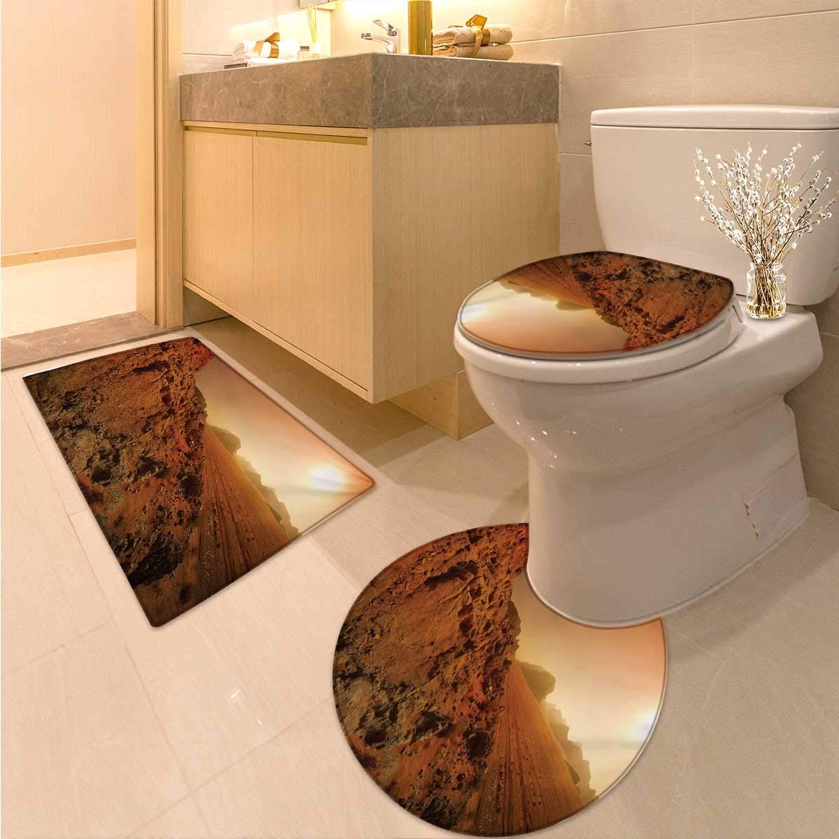 Anhuthree Galaxy Toilet Rug and mat Set Landscape from The Movie Fantastic Fictional Galaxy Clash Pattern Sunset Mountains Non Slip Bath Shower Rug Brown Yellow
