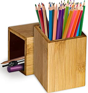 Pen Cup Holder,2 Pack Bamboo Wood Desk Pencil Holder Stand Multi Purpose Use Pencil Cup Pot Desk Accessories,Desktop Organizer Pencil Holder Ideal Gift for Office Home