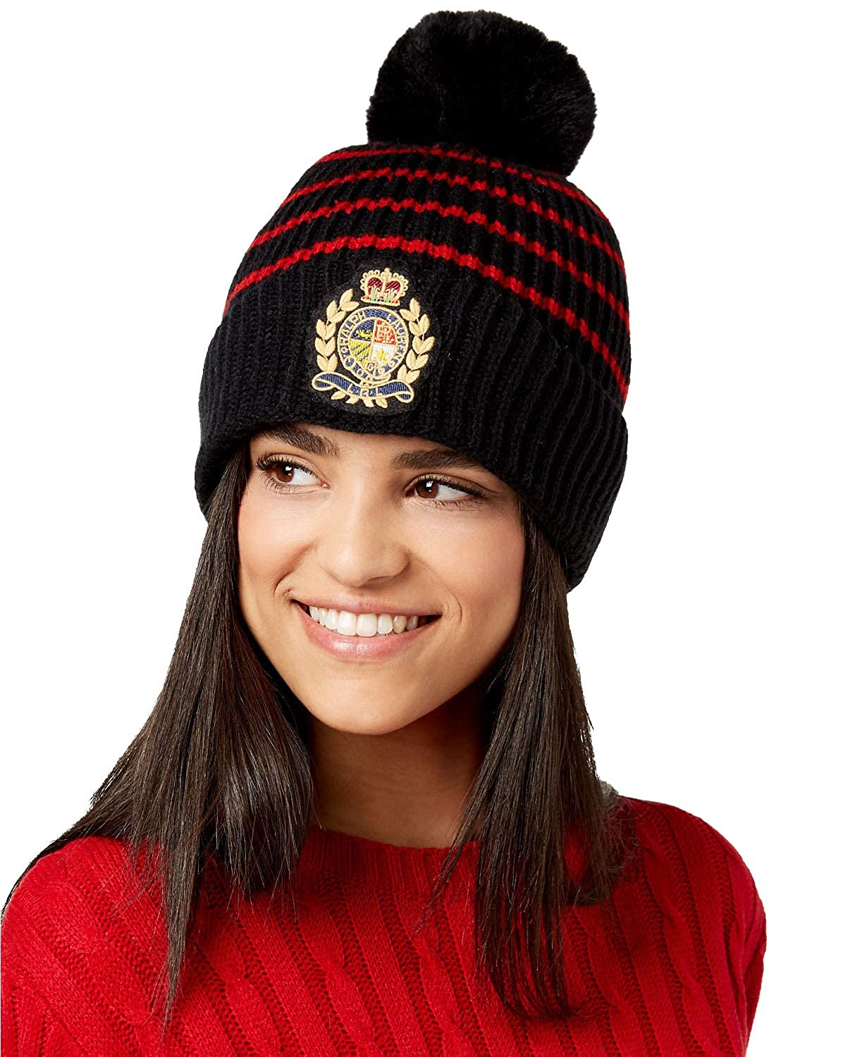 Black(lc0215002) Red Lauren Ralph Lauren Women`s Logo Patch Ribbed Knit Hat