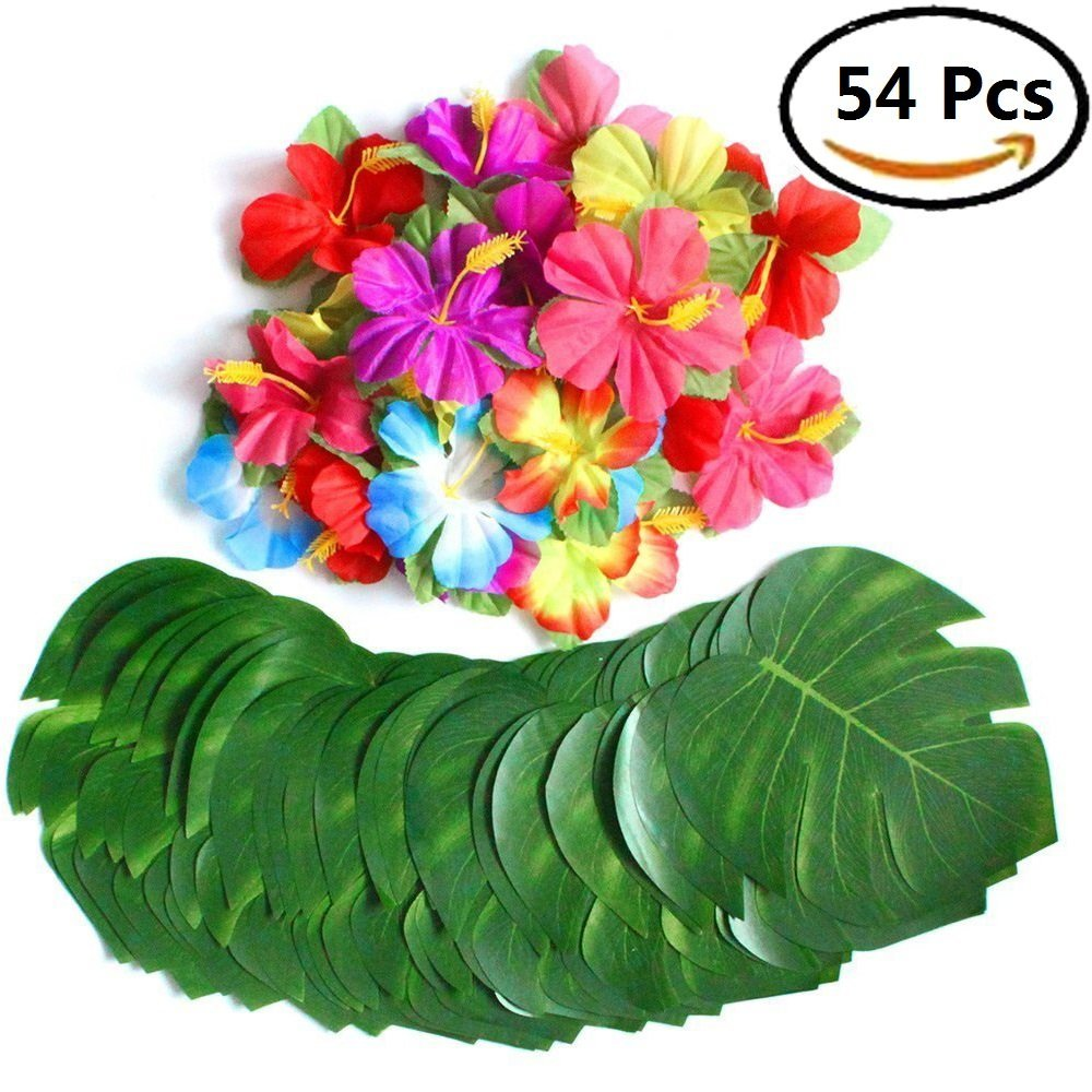 BangShou Hawaiian Garlands Flowers Necklace, Leis Luau Hula Hawaii Floral Necklace -for Birthday Summer Beach Theme Party Supplies (100pcs)