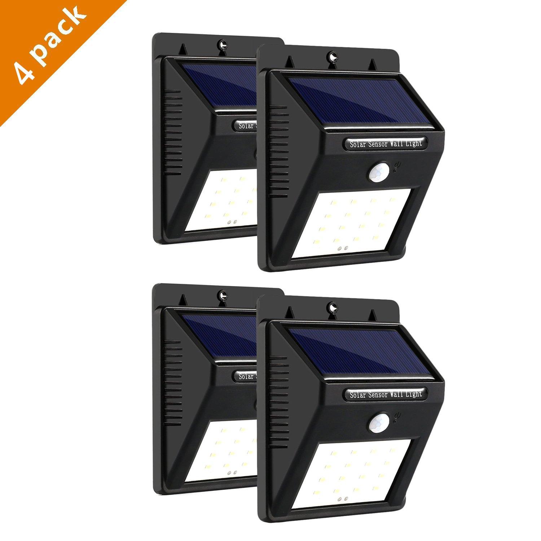 iMeshbean 1/2/4 Pack 20 LED Solar Power Sensor Wall Light Wireless Security Motion Weatherproof Outdoor Lamp (4 pack 20 LED Black)
