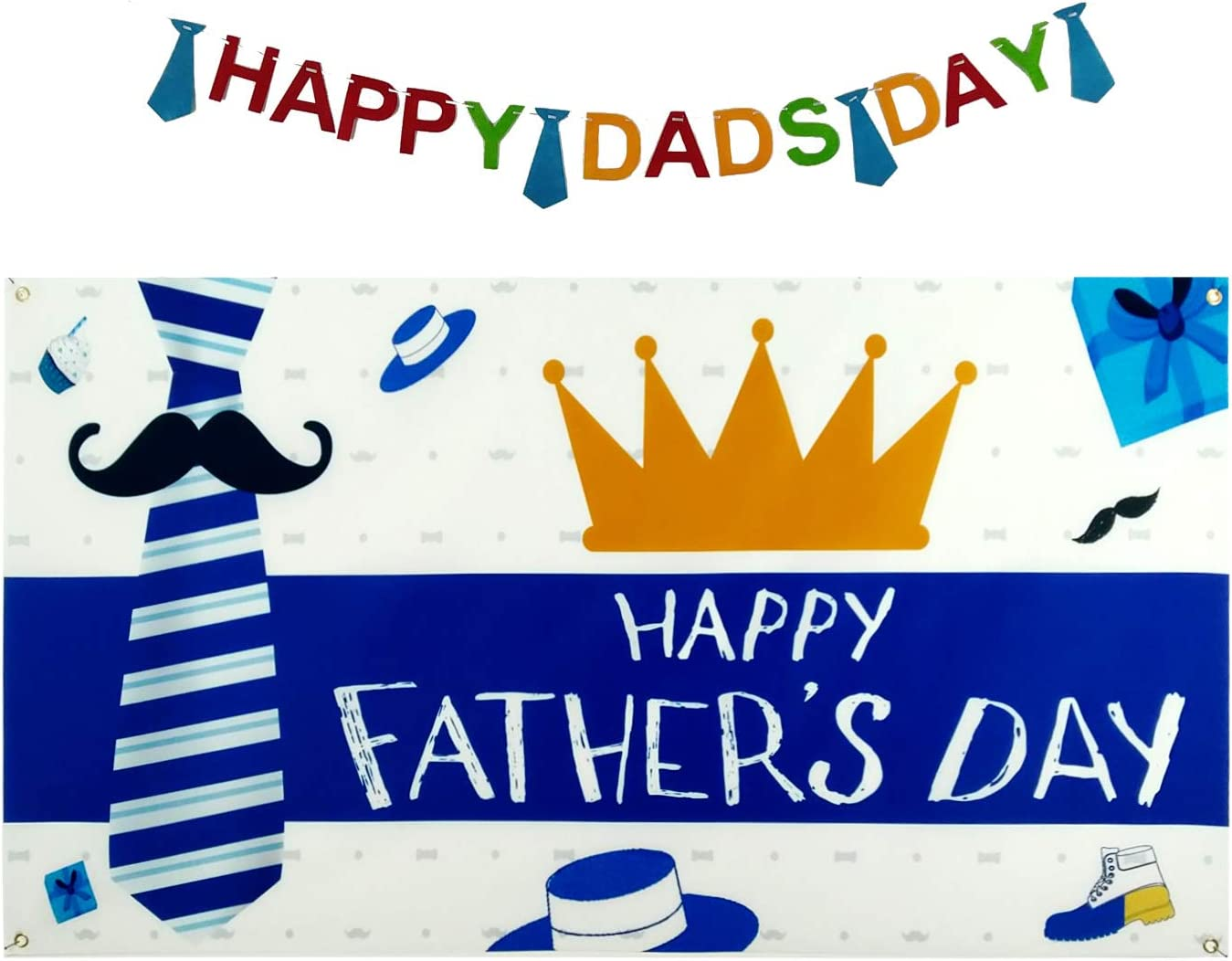 Happy Fathers Day Decorations Gifts - Fathers Day Decor Backdrop Banner Supplies for Daddy's Day Family Photo Booth (Blue)