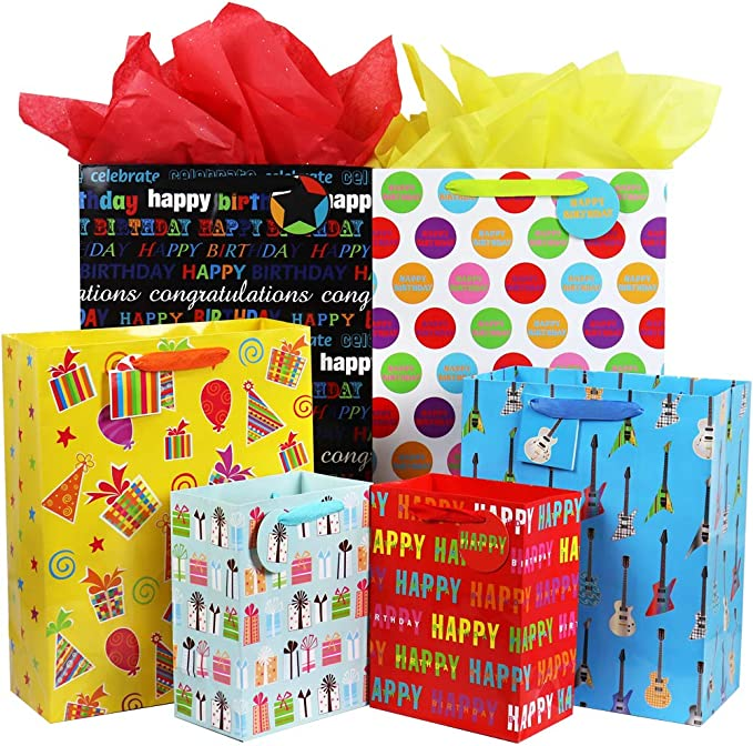 Set of 4 Happy Birthday Gift Bags 11x8x4