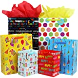 Fzopo Birthday Gift Bag Assortment with Ribbon Handle, 12 Pcs Premium Quality Assorted Sizes Paper Bags Set, XL 13x17x6.5, Large 12x15x4.8, Medium 7x9x4.2 inches (6 Designs)