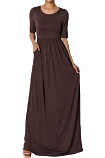 39e17e33e1c02 TheMogan Womens & Plus 1/2 Short Sleeve Shirred Jersey Round Neck Long Maxi  Dress