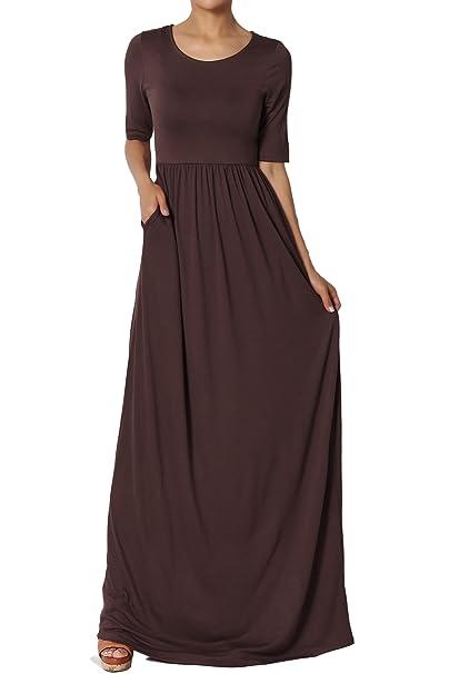 9ba7f132b4 TheMogan Women's Half Sleeve Shirred Viscose Jersey Long Maxi Dress Brown S